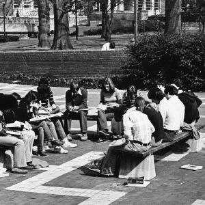 Students studying on the brickyard