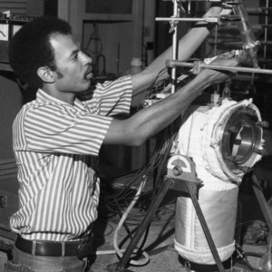 Student Hubert Winston in the lab