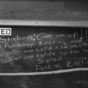 Message on the blackboard to fellow students