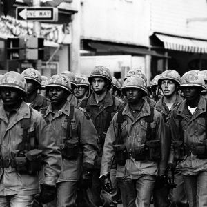 82nd Airborne marching during demonstration following the assassination of Martin Luther King, Jr.