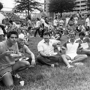 Students eating at an outdoor event