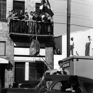 A crowd waits on Hillsborough Street for President Harry Truman