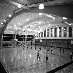 Intramural volleyball games in Carmichael Gym