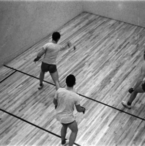 Students playing squash at Carmichael gym