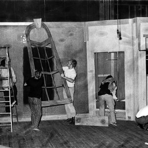 Students constructing props for the stage