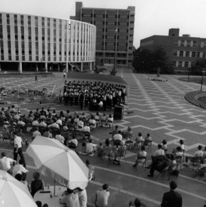 NC State's Men's Varsity Glee Club performing on the brickyard
