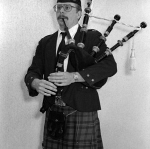 Bagpiper posing for the camera