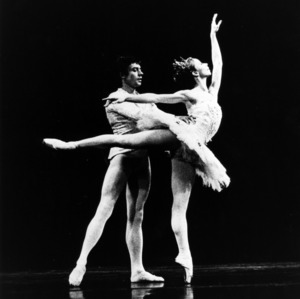 Ballet duo dancing on the stage