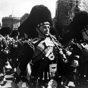 Bagpipers marching in formation