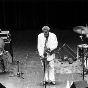 Jazz trio performing on stage