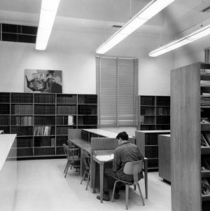 Student studying in Design Library