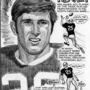 "North Carolina State University Flanker Pat Kenney"" ink/pencil sketch"