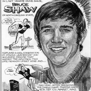 Quarterback Bruce Shaw cartoon profile