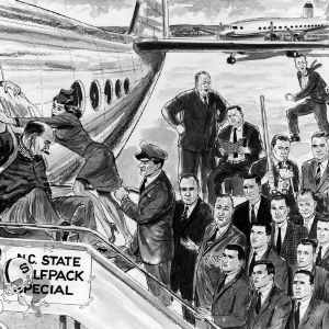 Cartoon of the NC State football team exiting an airplane