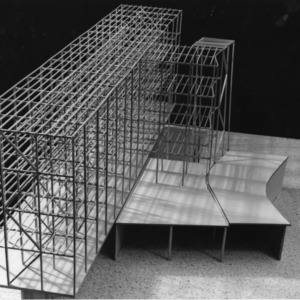 Scaled-down model of a structure showing beams