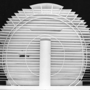 Circular design with mini-blinds appearance