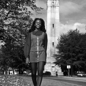 Homecoming Queen Mary Porterfield near Memorial Belltower
