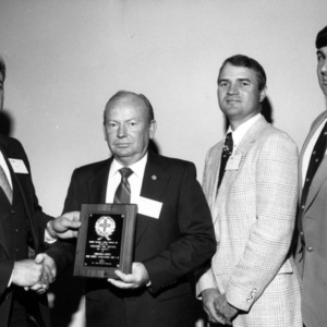 Johnston County Fire Chiefs Association members receiving award from NC Safety Council