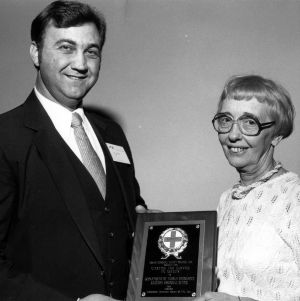 Department of Human Resources' Peg Rosett receiving award from N.C. Safety Council President Joe Gregory