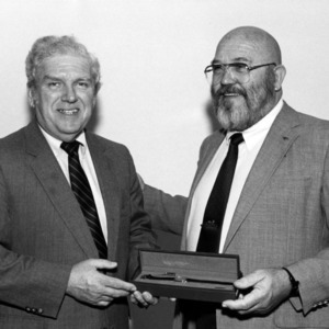 William M. Garmon receiving watch from Jim Warlick at Safety Council Awards