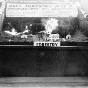 Forestry Exhibit at the student agricultural fair N.C. State fair 1936.