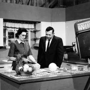 Hal Reynolds and Ruby Uzzle during filming of WUNC-TV program