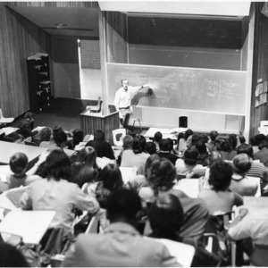 Lecture in Poe Hall classroom
