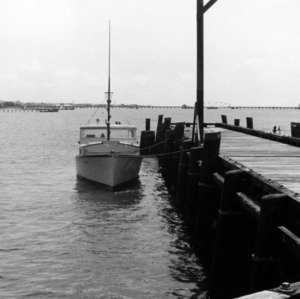 Boat at dock of the Morehead City Technical Institute