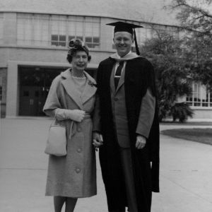 W. S. Johnson and Helen Johnson at installation of Earl Rudder as president of A & M College