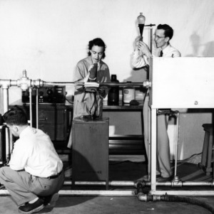 Dr. Kenneth O. Beatty, Frances Richardson and Jim Ferrell measuring velocity with radioactive tracers