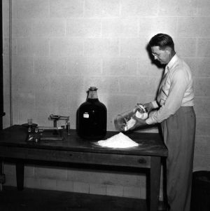 Dr. F. P. Pike conducting stickwater research