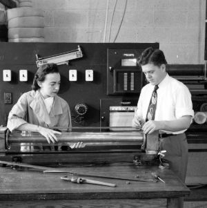 Dr. Kenneth O. Beatty and Frances Richardson in heat transfer laboratory