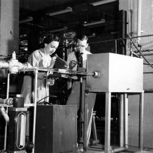 Dr. Kenneth O. Beatty and Frances Richardson measuring velocity with radioactive tracers