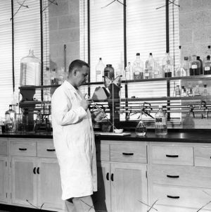 Charles M. Smallwood in Sanitary Engineering lab