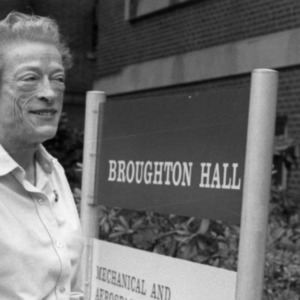 Katharine Stinson outside of Broughton Hall