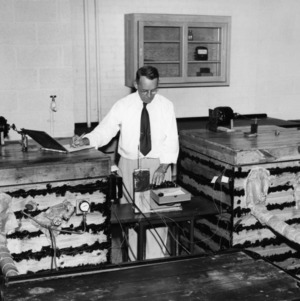 Professor Clyde A. McKeeman conducting refrigeration research