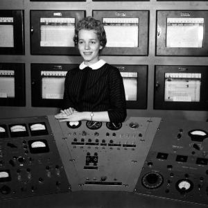 Betty Brown with nuclear reactor equipment