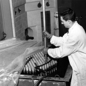 Bobby Leonard, Nuclear Engineering student with sub-critical assembly, 1958