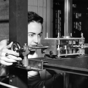 Frances Richardson with engineering research equipment