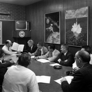 Conference room at Electronic Storage Battery, Inc., for UNC ETV educational television course
