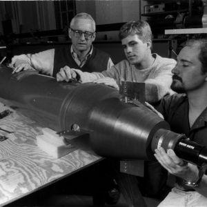 Mechanical Aerospace Engineering Professor Yates Sorrel and students