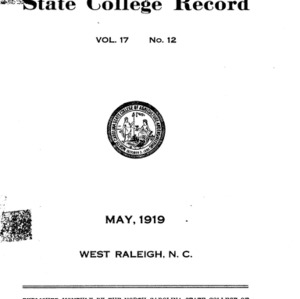 North Carolina State College of Agriculture and Engineering Catalogue, 1918-1919
