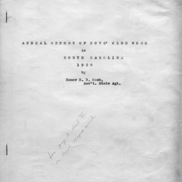 Annual report of the Boys' Club work in North Carolina, 1920