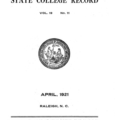North Carolina State College of Agriculture and Engineering Catalog, 1920-1921