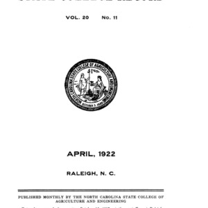 North Carolina State College of Agriculture and Engineering Catalog, 1921-1922