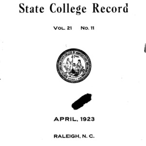 North Carolina State College of Agriculture and Engineering Catalog, 1922-1923