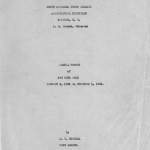 Annual report of 4-H Club work, January 1, 1926 to December 1, 1926