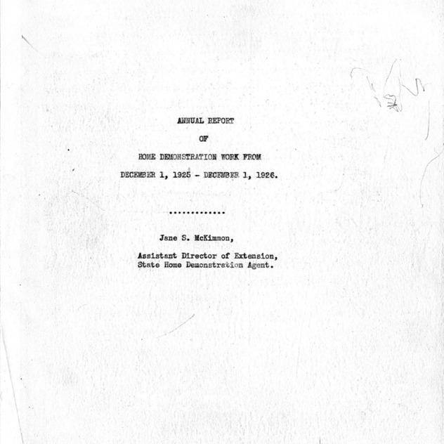 Annual report of Home Demonstration work from December 1, 1925 - December 1, 1926