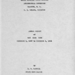 Annual report of 4-H Club work, December 1, 1927 to December 1, 1928