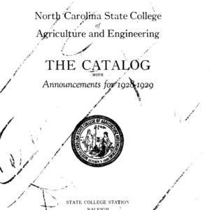 North Carolina State College of Agriculture and Engineering Catalog, 1928-1929